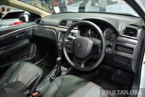 Một số trang thiết bị nổi bật của Suzuki Ciaz tại thị trường Thái Lan bao gồm điều hòa không khí tự động, cửa mở không cần chìa khóa, khởi động máy bằng nút bấm, máy chơi nhạc kết nối Bluetooth, nút điều khiển tích hợp trên vô lăng, ghế bọc da, đèn pha Projector, bộ la-zăng hợp kim 15 inch, 2 túi khí trước, hệ thống chống bó cứng phanh ABS và trợ lực phanh EBD.